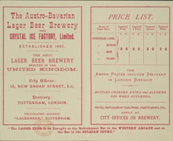 Advert for the Austro-Bavarian Lager Beer Company reverse